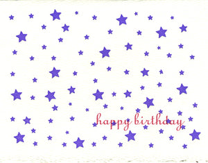 letterpress birthday card purple stars