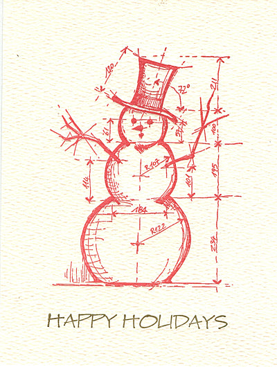 architectural snowman letterpress holiday cards