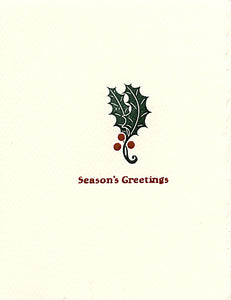 holly leaf letterpress holiday cards