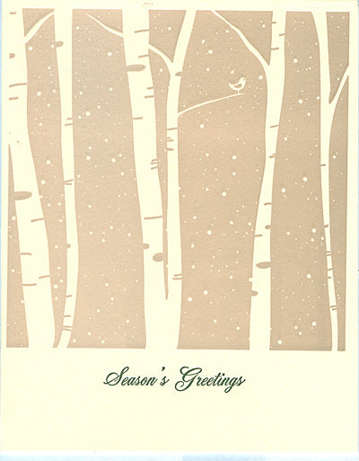 birch trees in snow letterpress elegant holiday cards