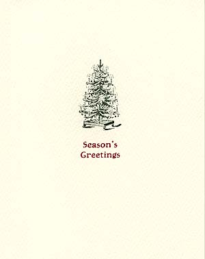 antique xmas tree letterpress holiday cards