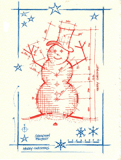 architectural starry snowman letterpress holiday cards