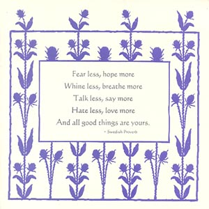letterpress encouragement card fear less hope more