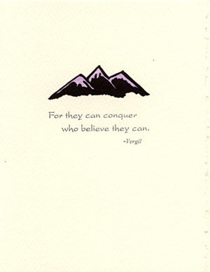 letterpress encouragement card conquer mountains