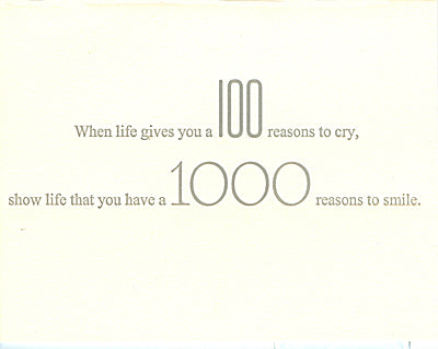 letterpress encouragement card 100 reasons
