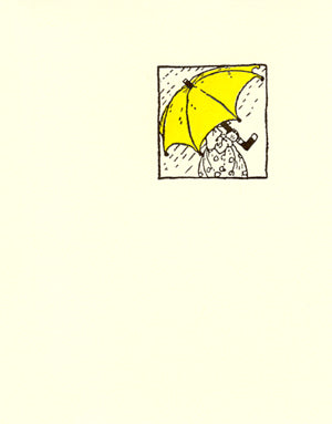 letterpress get well card  yellow umbrella