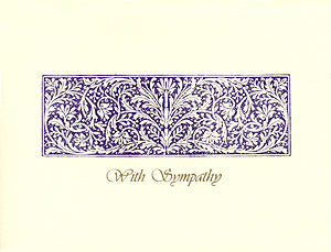 letterpress sympathy card elegant purple engraving