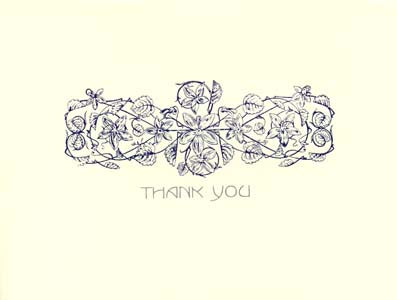 letterpress elegant thank you notes blue flower hand printed