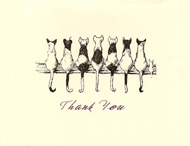 letterpress elegant thank you note cats