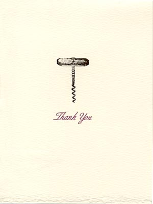 letterpress elegant thank you note wine corkscrew