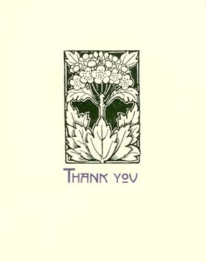 letterpress elegant thank you note deco plant