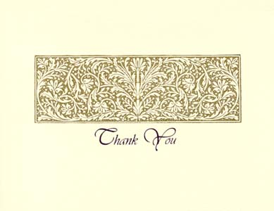 letterpress elegant thank you note gold brocade