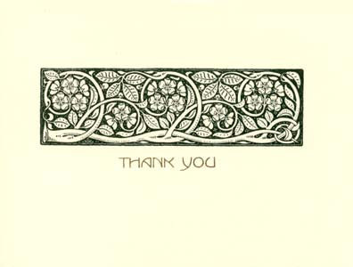 letterpress elegant thank you note green vines