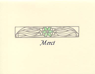 letterpress elegant thank you note merci