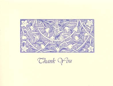 letterpress elegant thank you note periwinkle