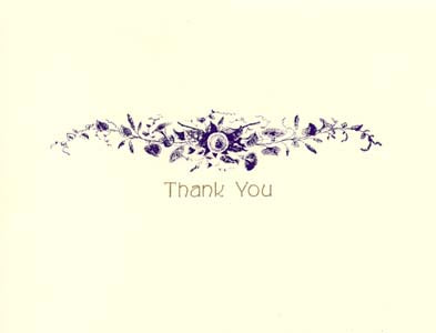 letterpress elegant thank you note purple spray