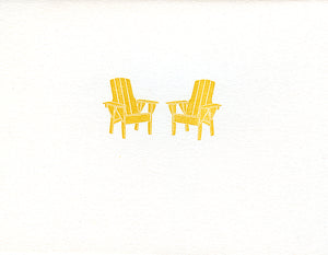 letterpress whimsical blank notes adirondack chairs