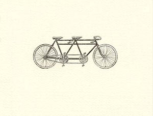 letterpress whimsical blank notes tandem bicycle