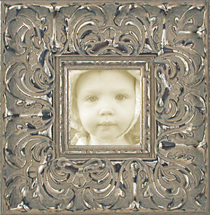 Ornate Picture Frame Antique Silver Wide Baroque