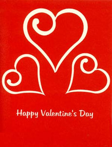 Silkscreen 3 Hearts Valentine's Card Hand Printed