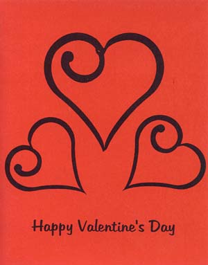 Silkscreen 3 Hearts Valentine's Card