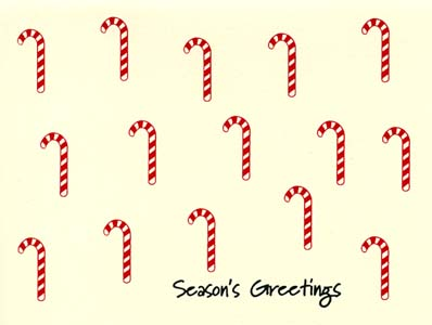 candy canes letterpress holiday cards