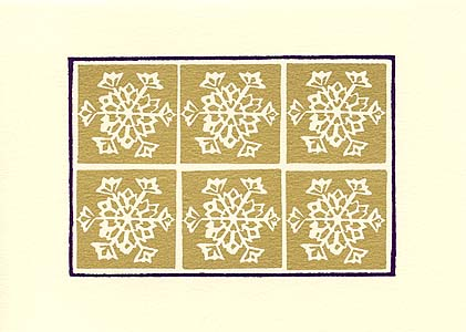 silkscreen elegant gold snowflakes holiday cards