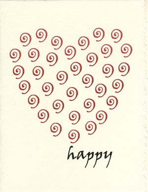 heart swirls  Letterpress Valentine's Card