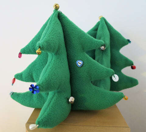 fleece Christmas trees, handmade and decorated by children with buttons