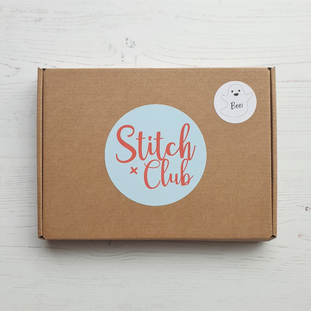 box packaging for stitch club ghost sewing kit