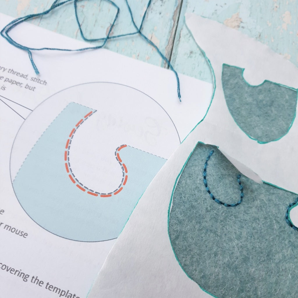 A close up view of some embroidery, alongside an instructional illustration in  a felt sewing kit