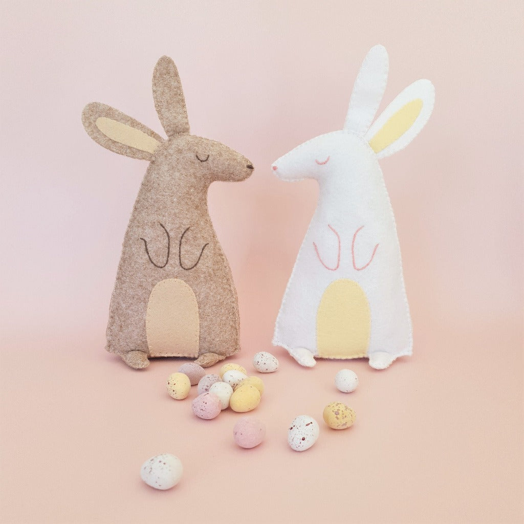felt easter bunny sewing project with chocolate mini eggs