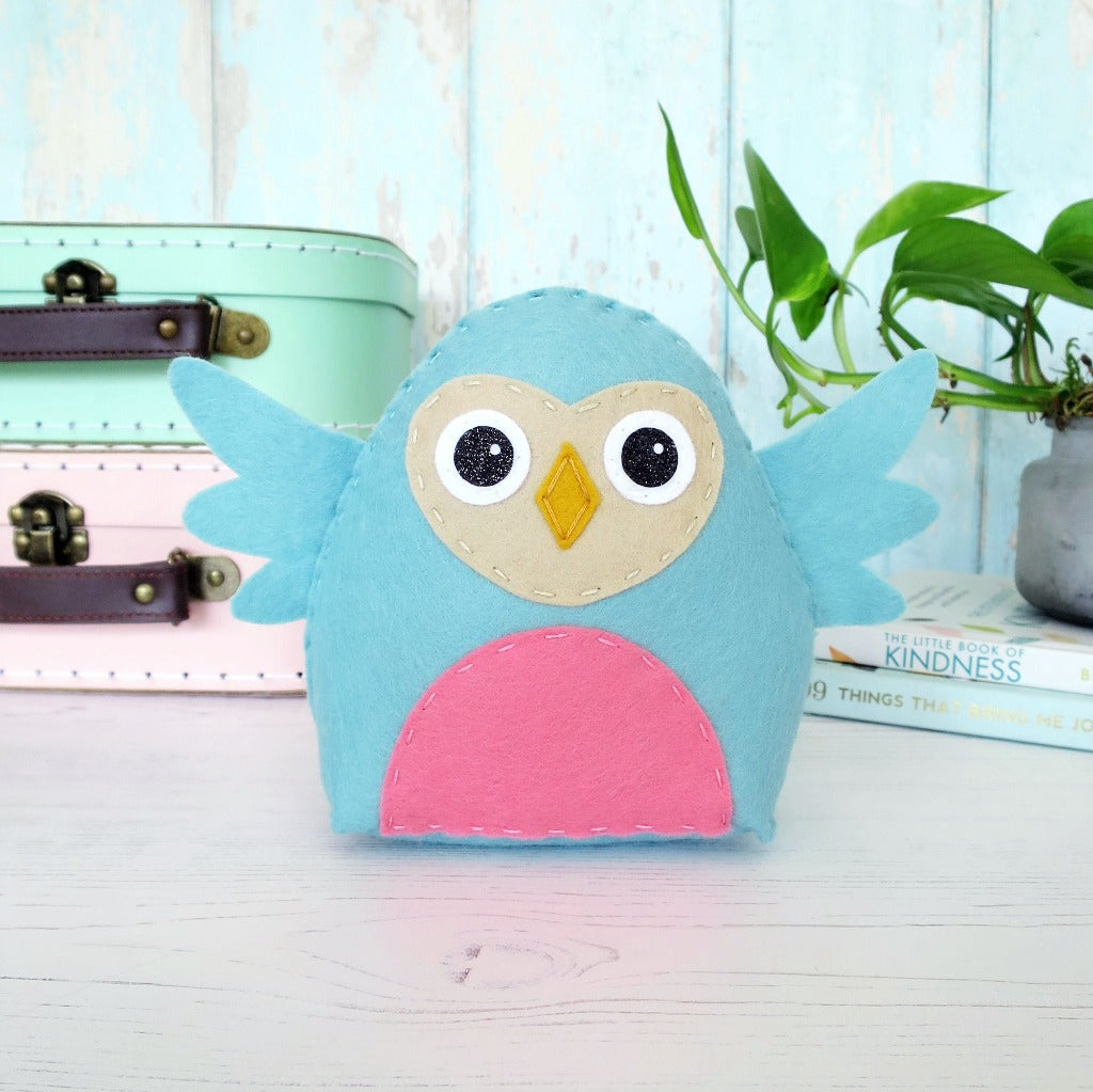 cuddly felt owl sewn by hand with a stitch club sewing kit