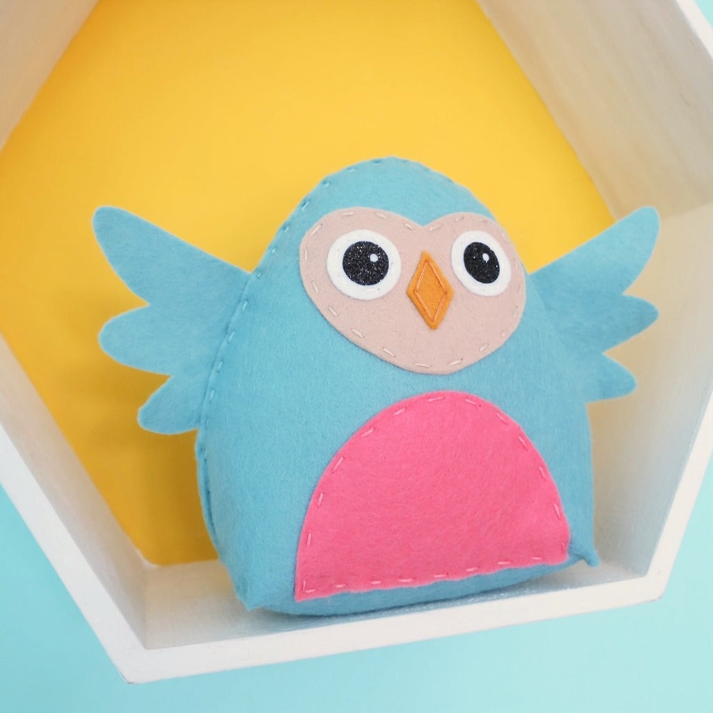 blue felt owl sewing kit for children