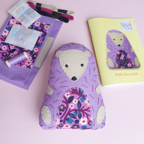 felt hedgehog sewing kit for children to learn to sew