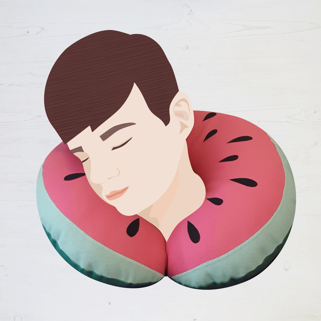 A digital illustration with a real photograph of a travel neck pillow sewing project. It is designed to look like a watermelon.