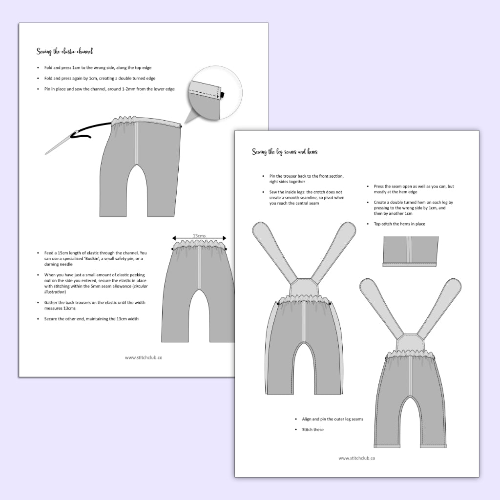 Sample pages from a PDF sewing pattern to make overalls for a toy deer