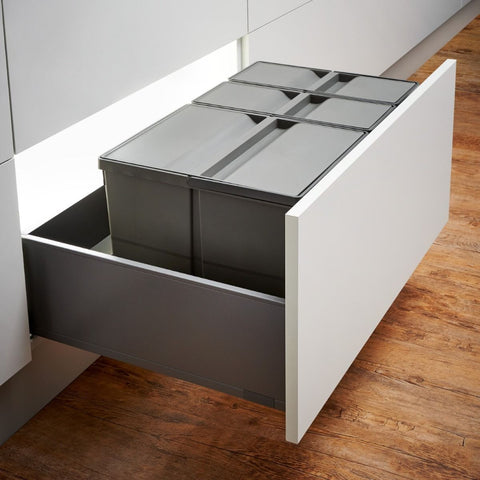 Wesco Pullboy 9XL 48L 3 Compartment Recycling Bin 800mm Drawer