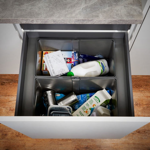Wesco Pullboy-Z Legrabox 80L 2 Compartment Recycling Bin 600mm Door