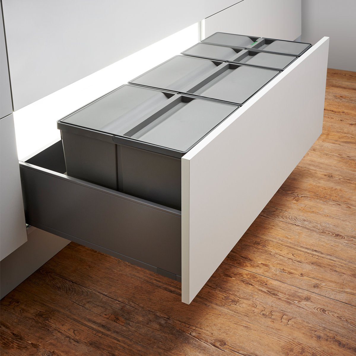 Wesco Pullboy 9XL 74L 4 Compartment Recycling Bin 1000mm Drawer