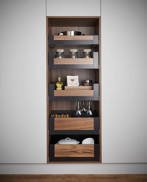Legrabox Pure - Orion Grey with Solid Oak Element Space Tower - 500mm Depth