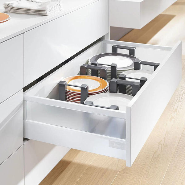Drawer showing Blum Orga-Line and Ambia-Line Plate Holders