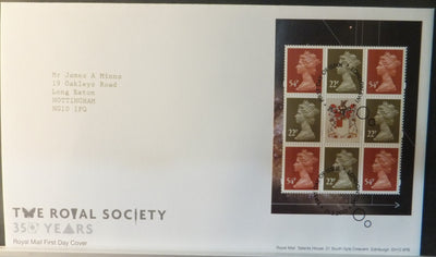 Great Britain Booklet Pane Royal Mail 2010 FDC - The Royal Society London SW1 postmark