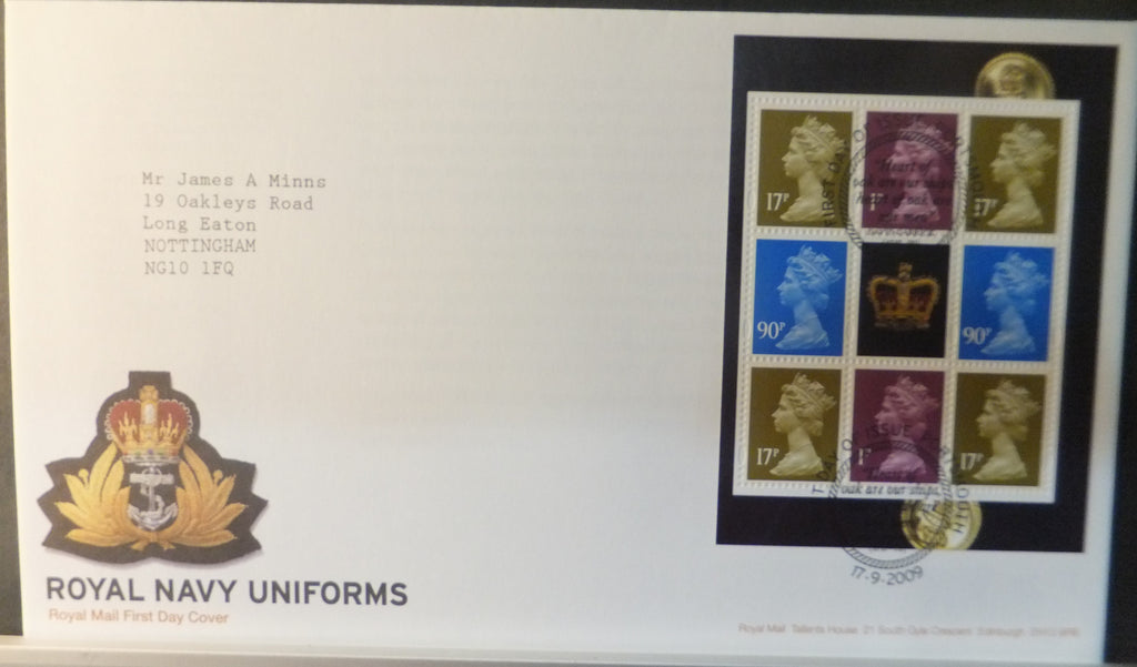 Great Britain Booklet Pane Royal Mail 2009 FDC - Royal Navy Uniforms Portsmouth postmark