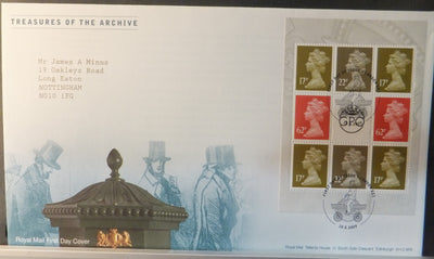 Great Britain Booklet Pane Royal Mail 2009 FDC - Treasures of the Archive London EC1 postmark