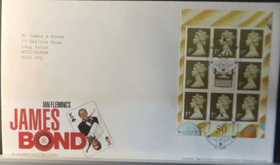 Great Britain Booklet Pane Royal Mail 2008 FDC - James Bond London SE1 postmark