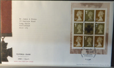 Great Britain Booklet Pane Royal Mail 2006 FDC - Victoria Cross Cuffley postmark