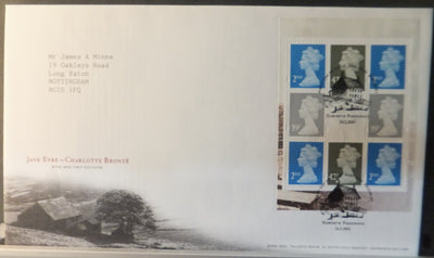 Great Britain Booklet Pane Royal Mail 2005 FDC - Jane Eyre Charlotte Bronte Haworth postmark