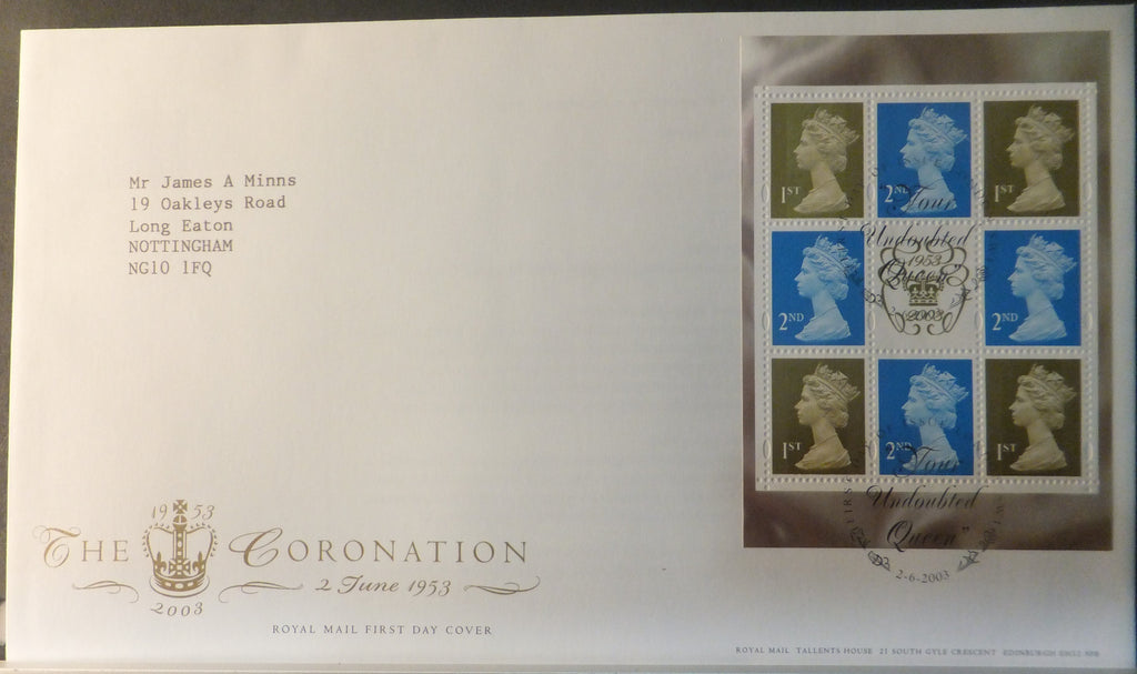 Great Britain Booklet Pane Royal Mail 2003 FDC - Coronation London SW1 postmark