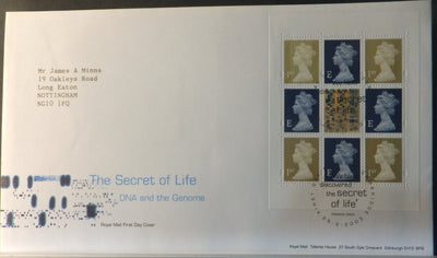 Great Britain Booklet Pane Royal Mail 2003 FDC - Secret of Life Cambridge postmark